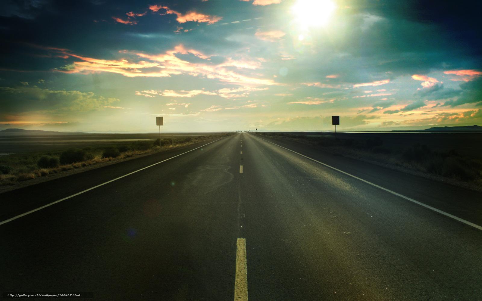Пейзаж трасса дорога поле небо