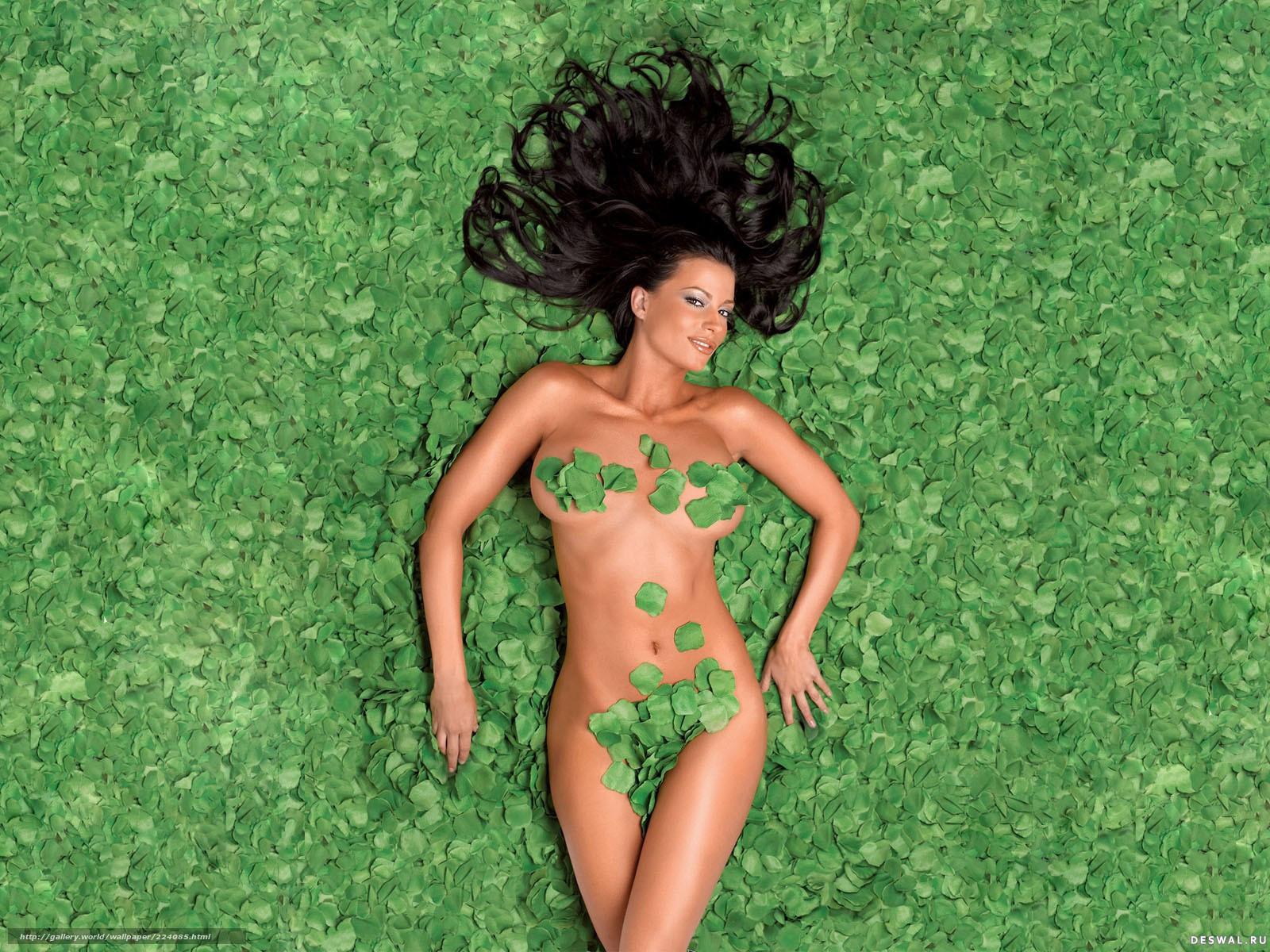 листья, зелень, брюнетка, загар, фигура, девушка, девушки ...