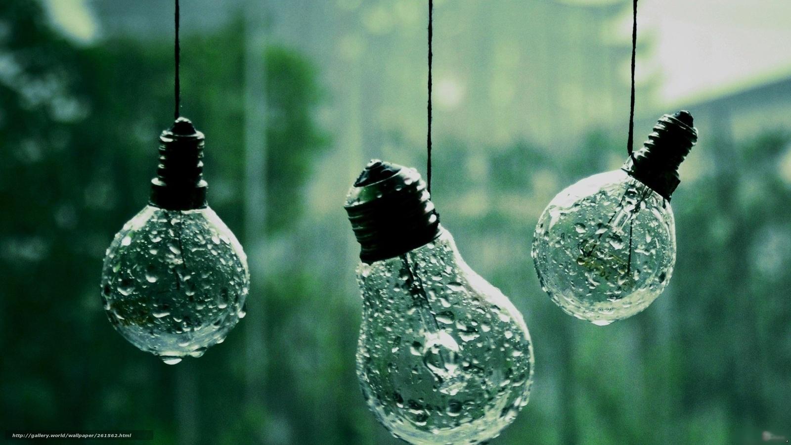 Скачать обои лампочка капли висит