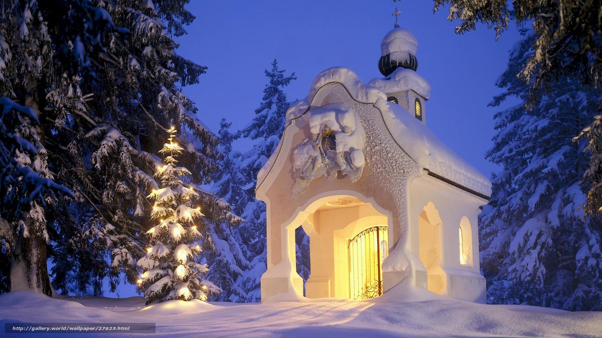 Download Hintergrund Winter,  Schnee,  Baum,  Kapelle Freie desktop Tapeten in der Auflosung 1920x1080 — bild №27623
