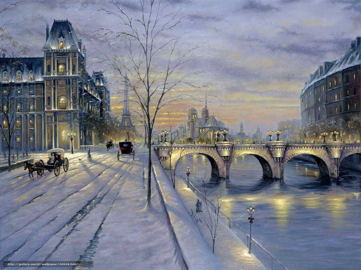 Скачать обои закат зима париж улица
