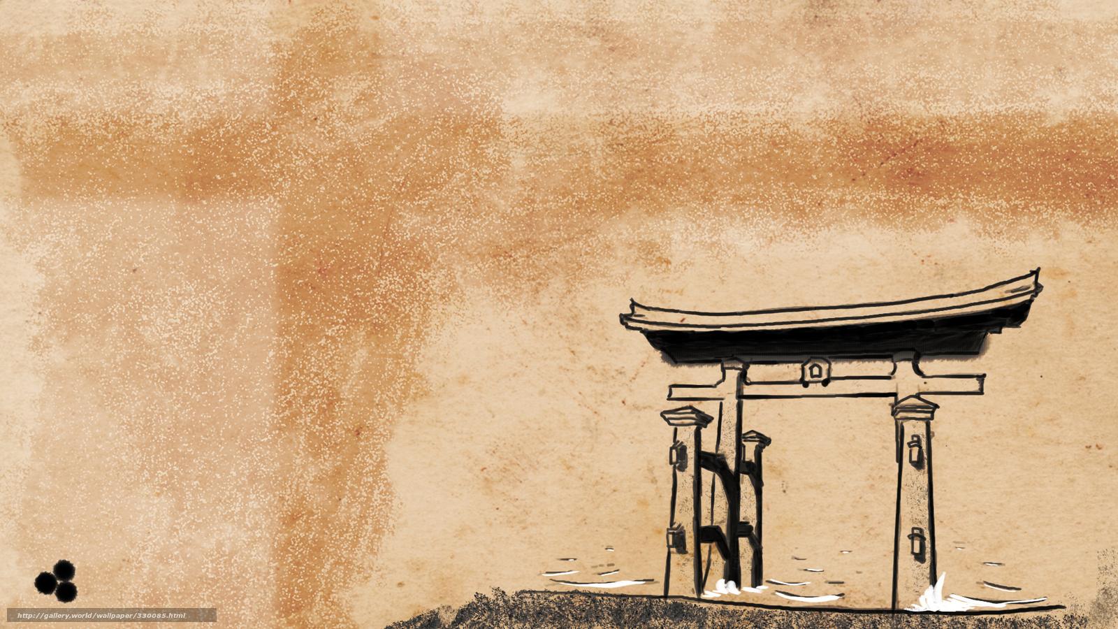 Tlcharger fond d 39 ecran torii shintosme japon de style for Bureau style japonais