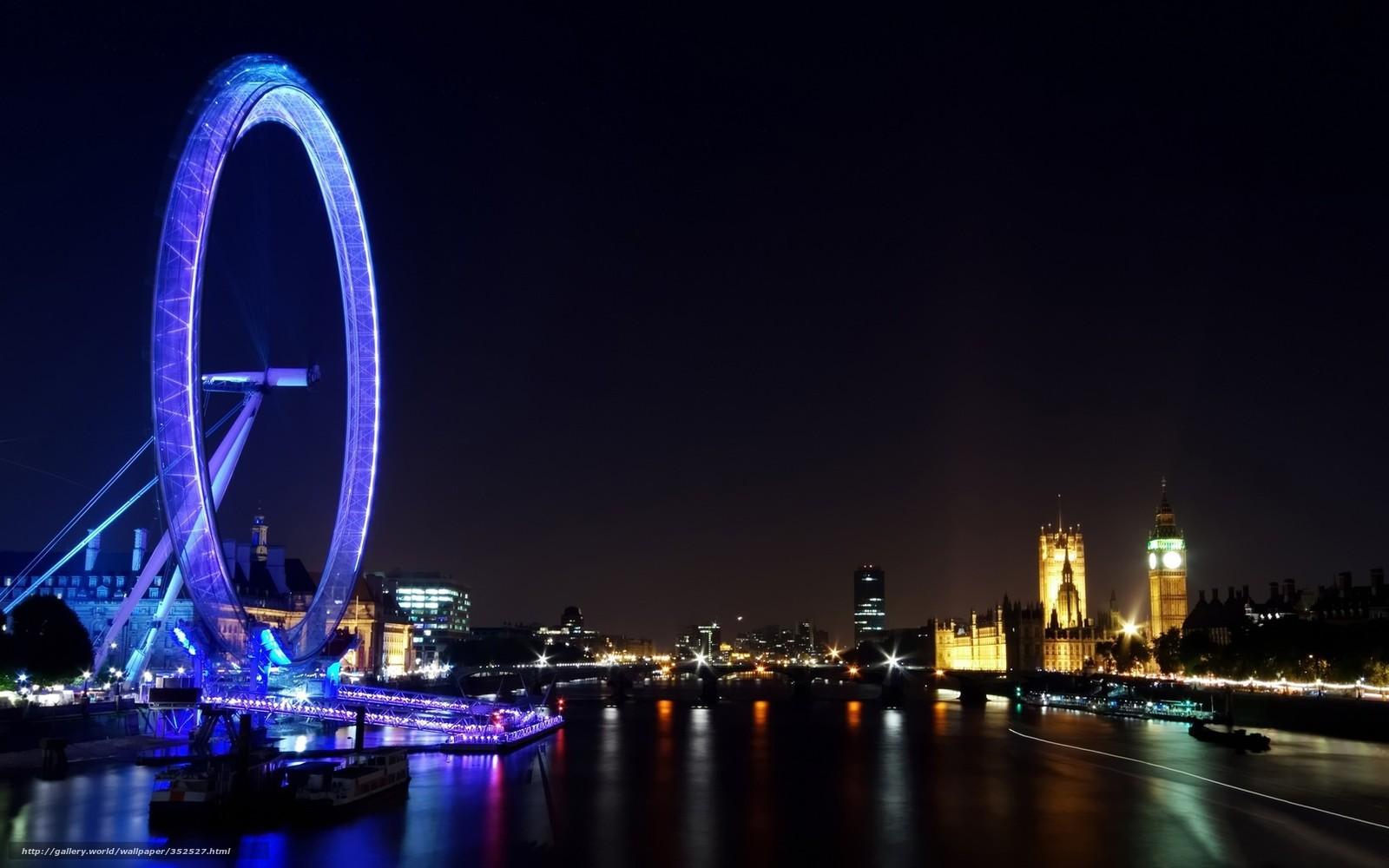 Лондон ночь огни колесо обозрения