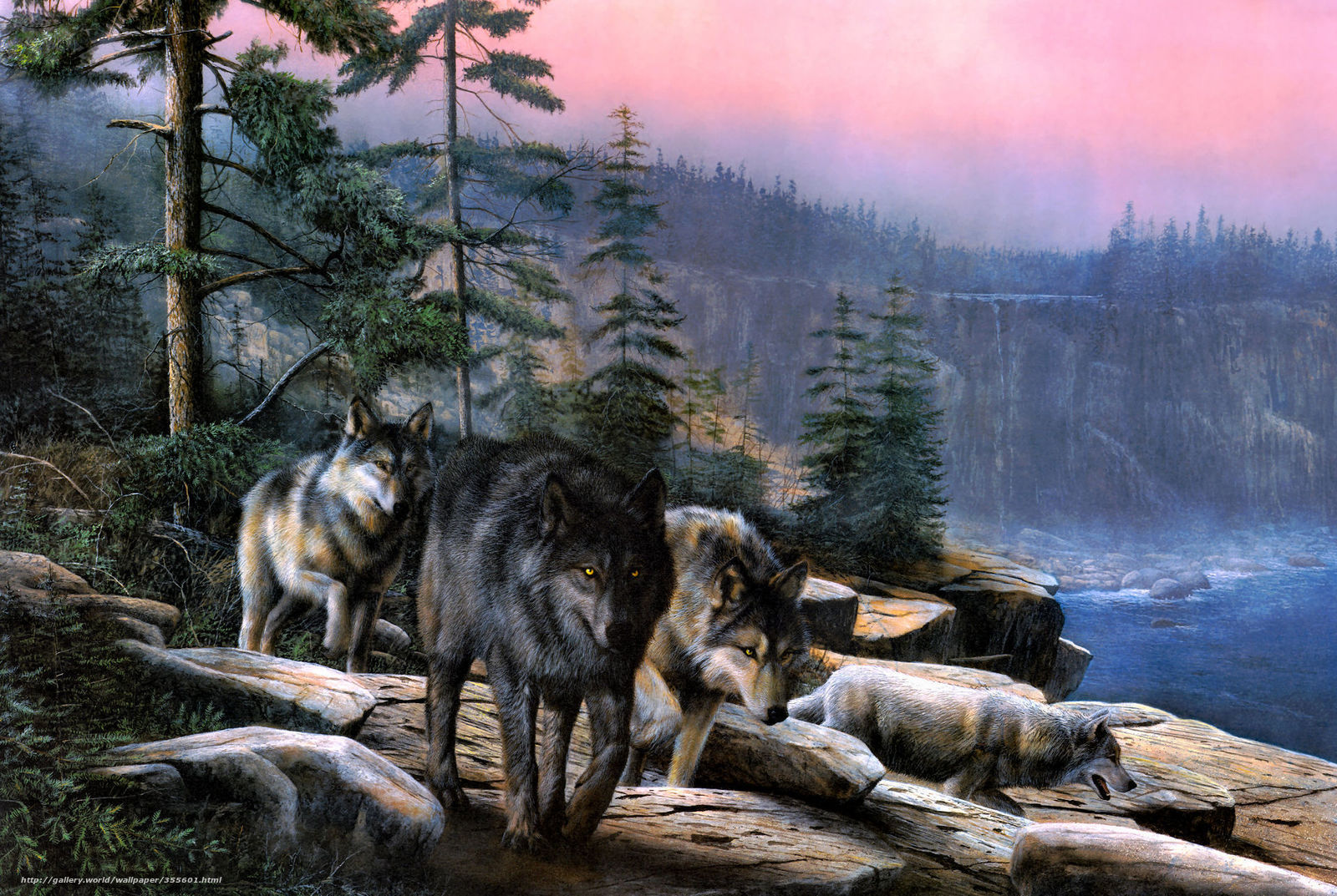 Скачать обои волки утёс деревья небо