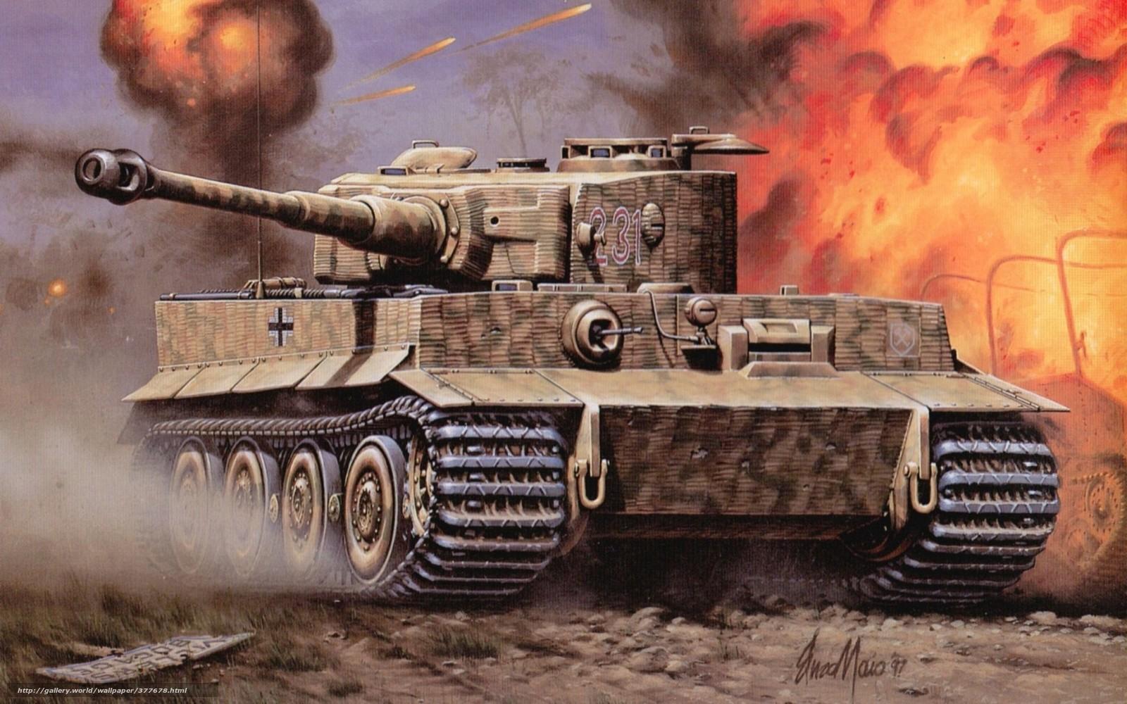 Скачать обои танк тигр огонь война