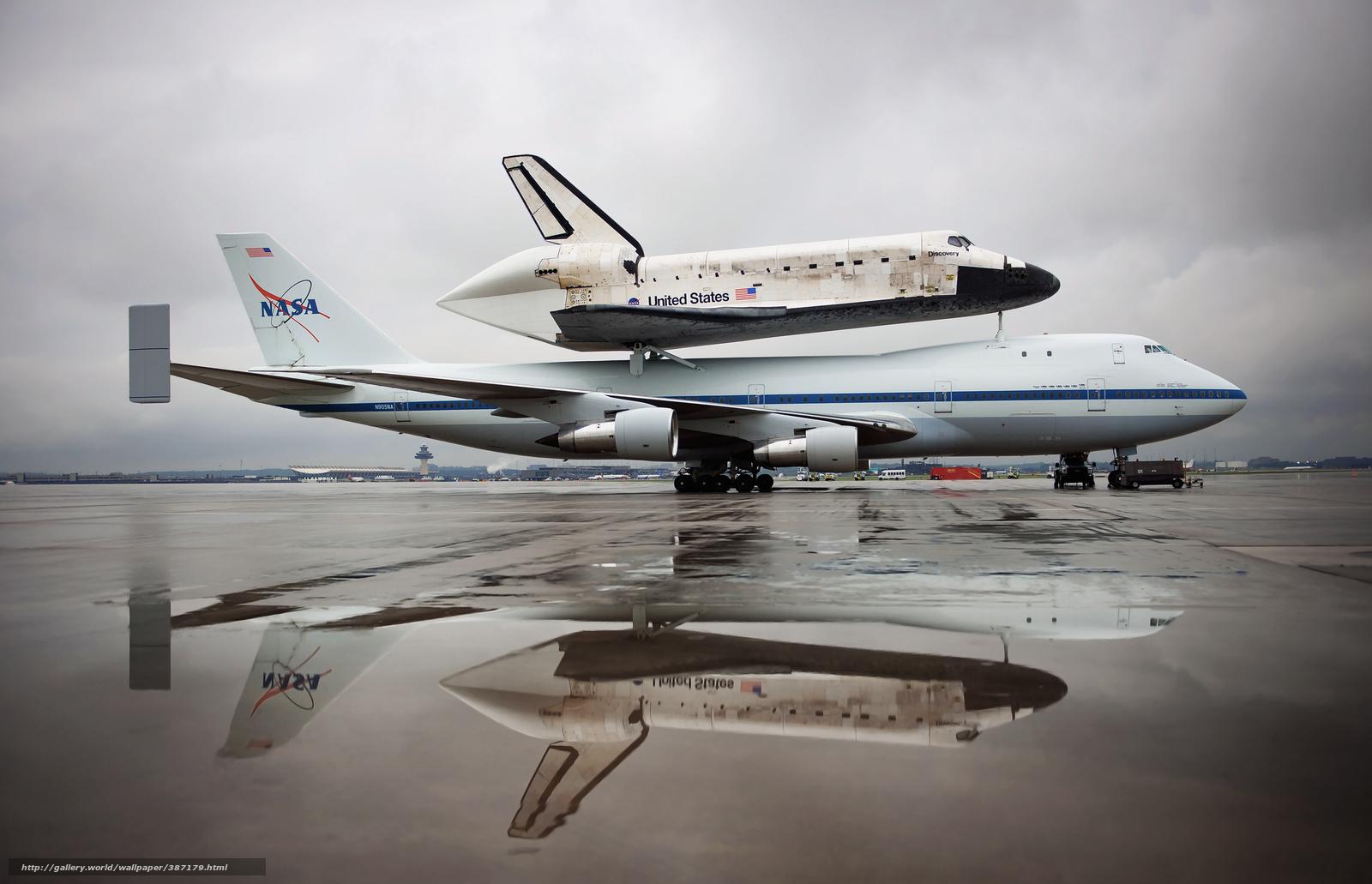 Download wallpaper Shuttle, Discovery, NASA, plane free ...