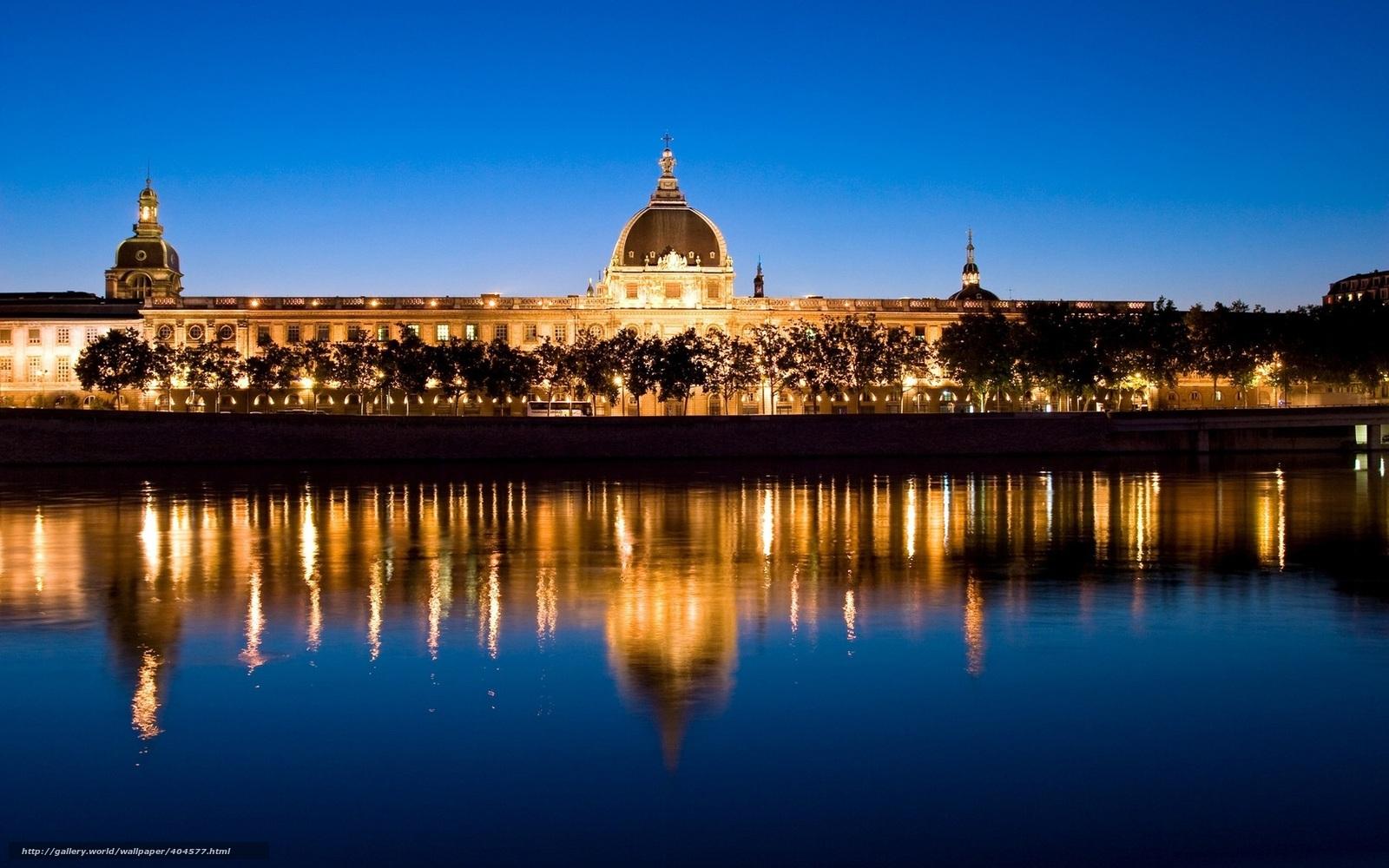 Лион франция европа вечер ночь река