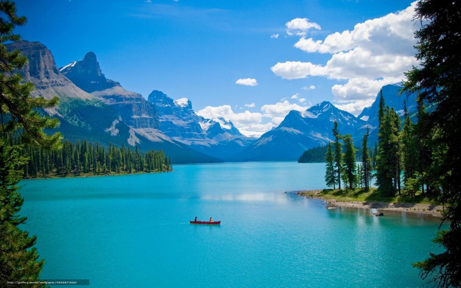 Пейзаж озеро лес горы лодка деревья