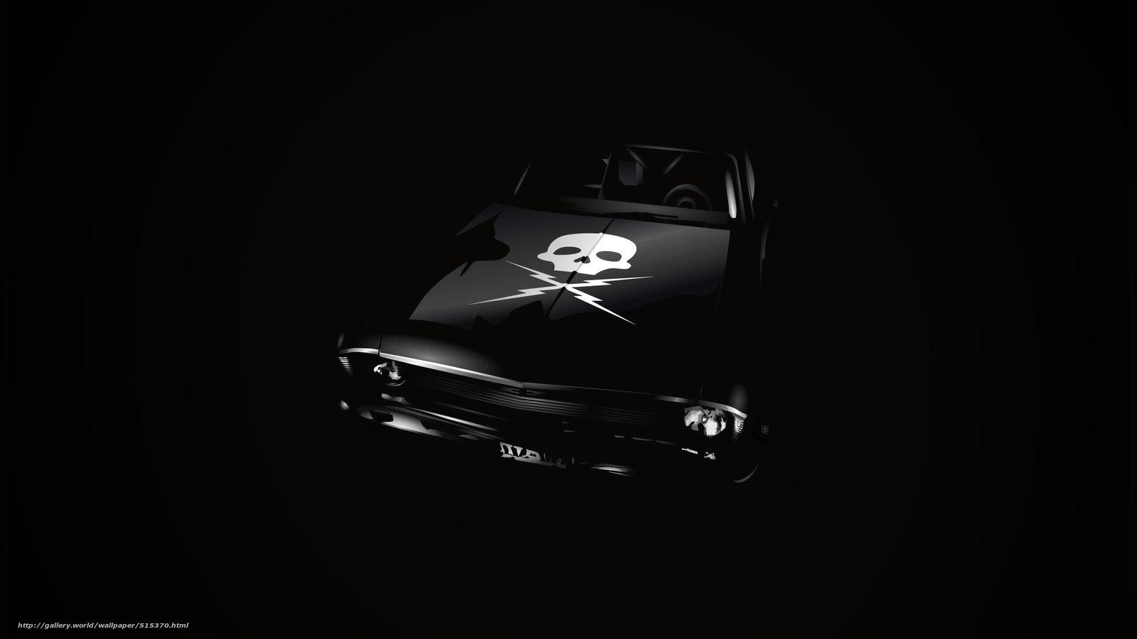 Download Wallpaper Black Background Chevrolet Death Proof Skull