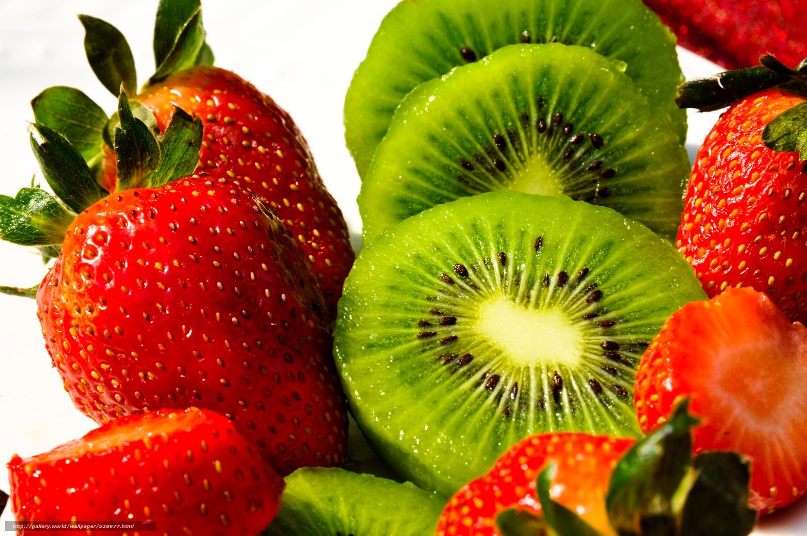 Download wallpaper strawberry, kiwi, fruit free desktop wallpaper in ...