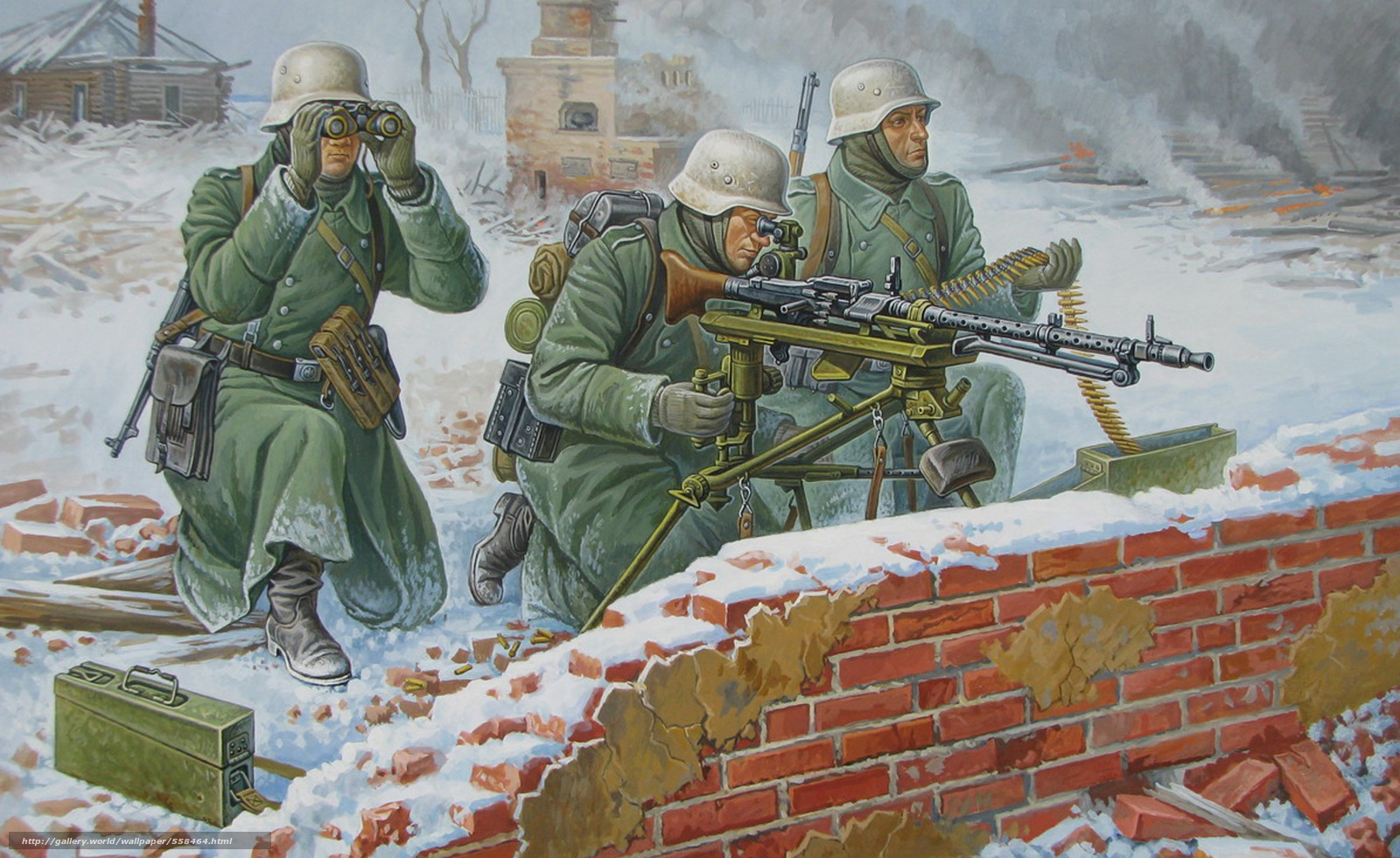 Download wallpaper German soldiers, gunner, WWII, winter ...