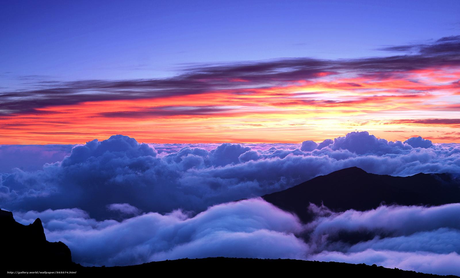 Tlcharger fond d 39 ecran coucher du soleil ciel montagnes nuages fonds d 39 ecran gratuits pour - Photo coucher de soleil montagne ...