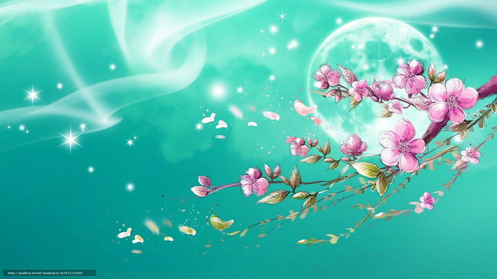 壁紙をダウンロード ムーン, ブランチ, 星, 桜 ...: ja.gde-fon.com/download/wall/570717/1920x1080