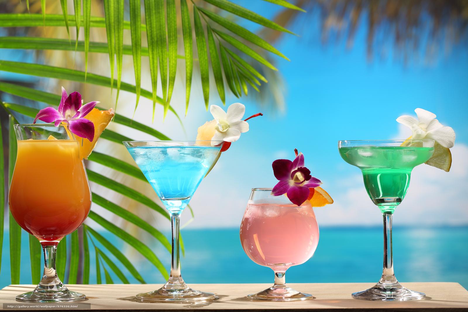 Tlcharger Fond d'ecran plage, feuilles de palmier, Cocktails, Fleurs Fonds d'ecran gratuits pour ...