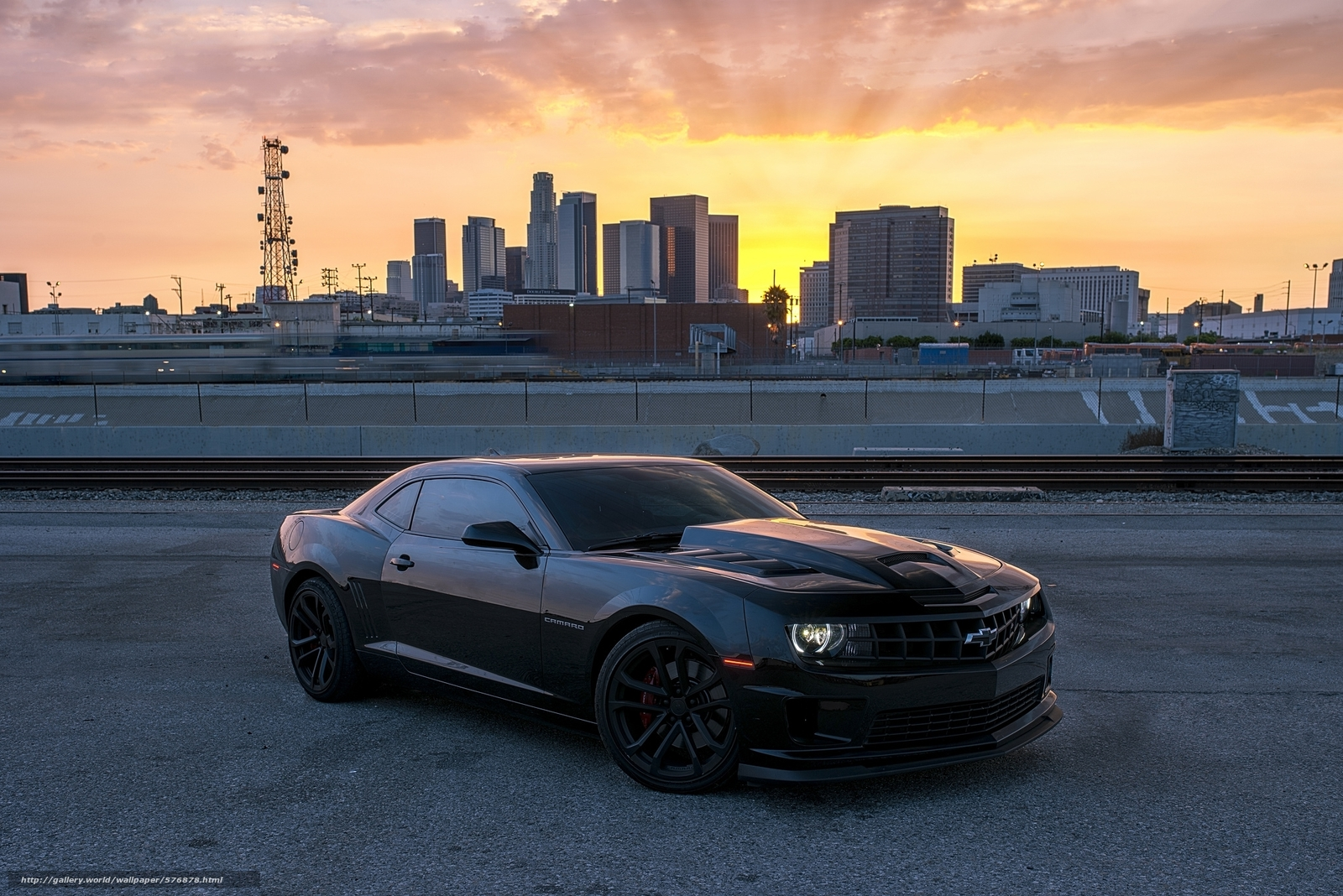 Download Wallpaper Camaro Black Chevrolet Sunset Free