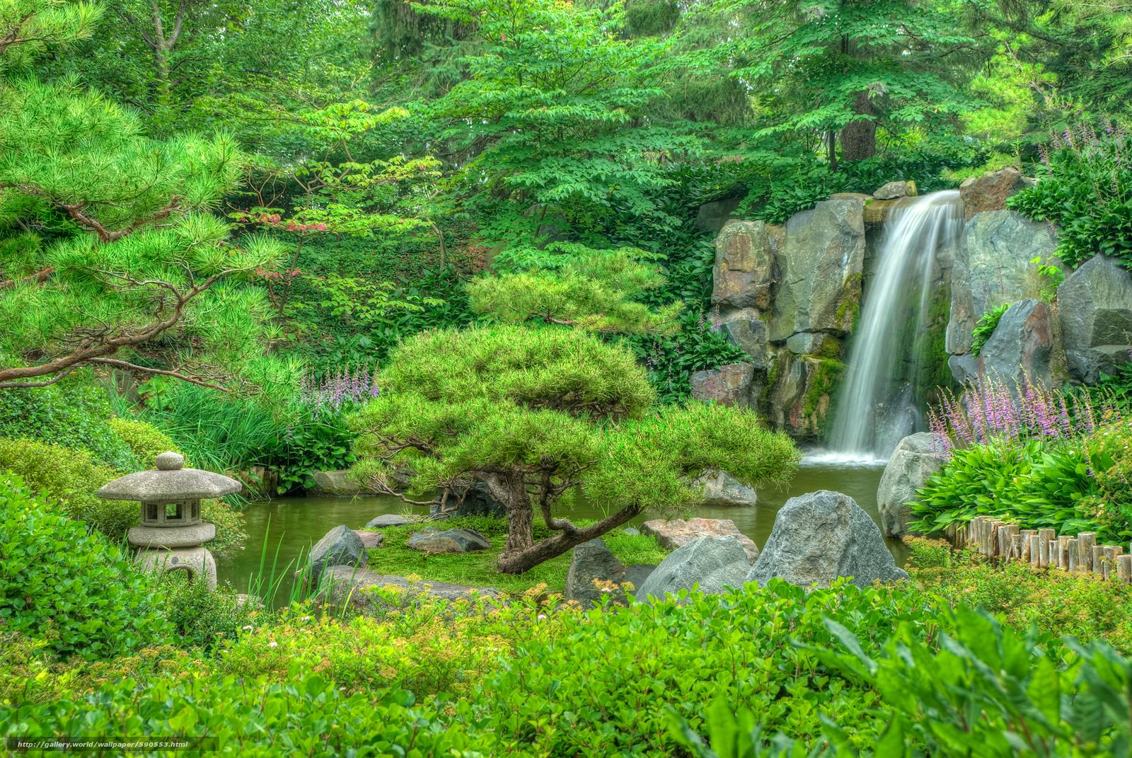 Tlcharger fond d 39 ecran le jardin japonais parc jardin for Cascade jardin japonais