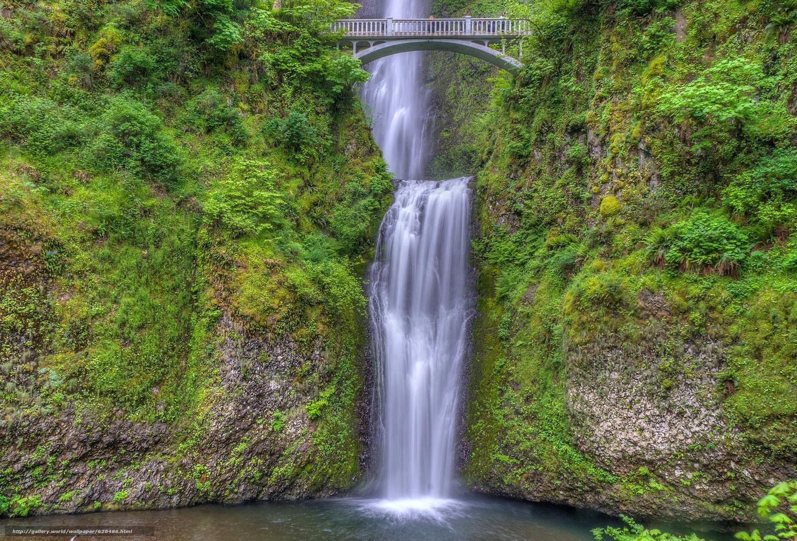 Nature Wallpaper Waterfall Columbia River Oregon: Download Wallpaper Multnomah Falls, Benson Bridge