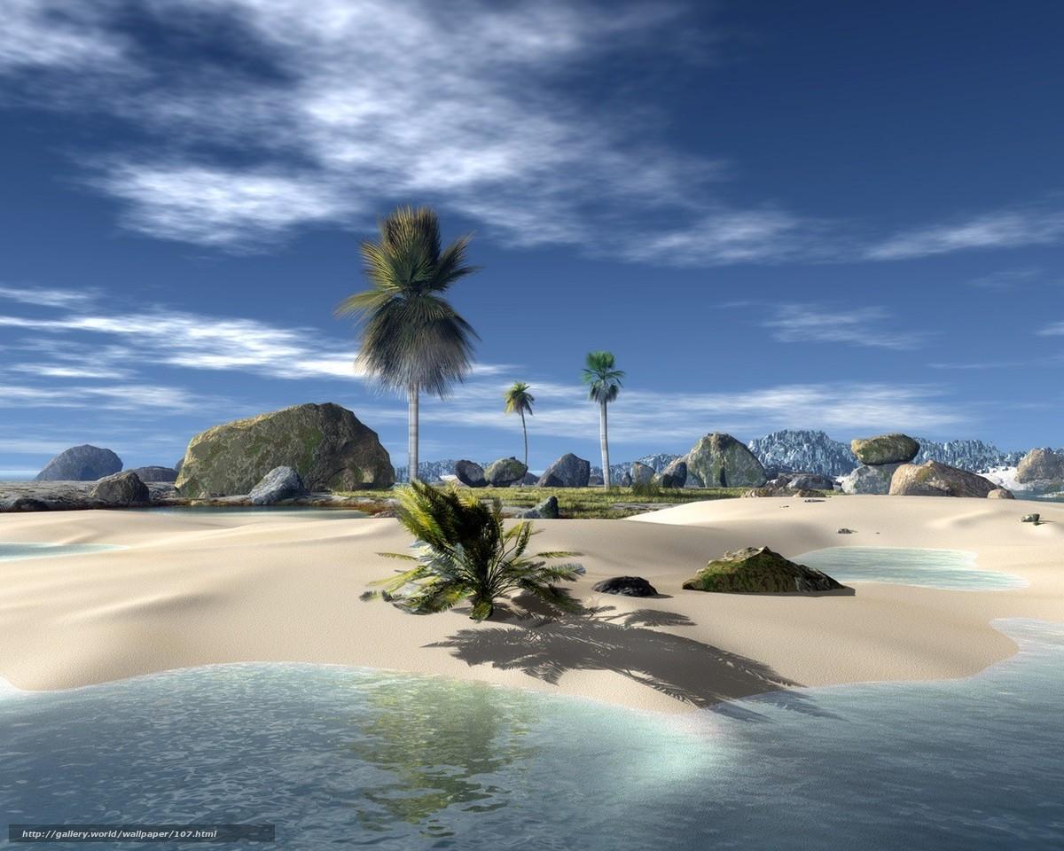 рендеринг, тропические острова, пальмы, камни