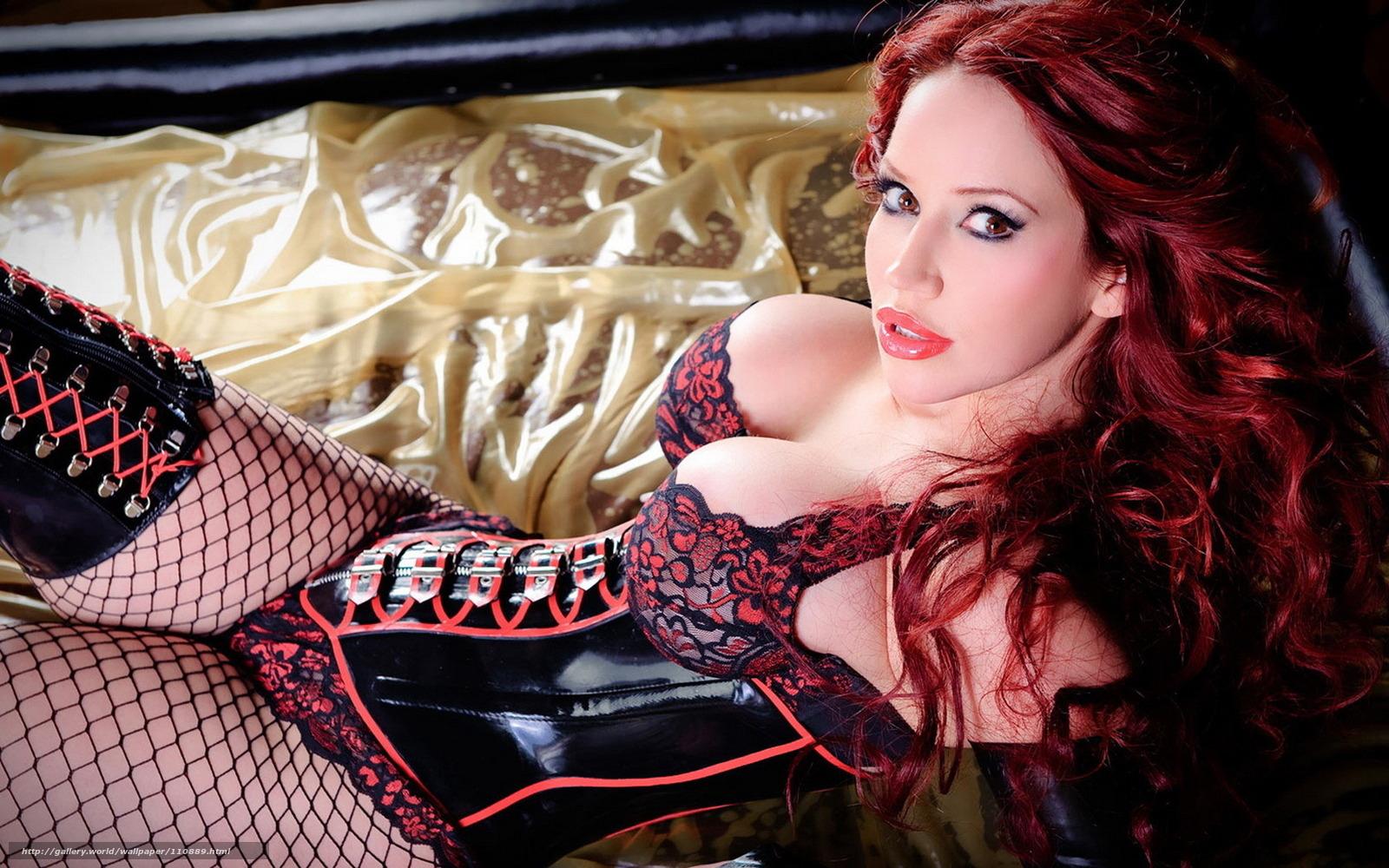 Рыжая дама в корсете в чулках с секс машиной 18 фотография