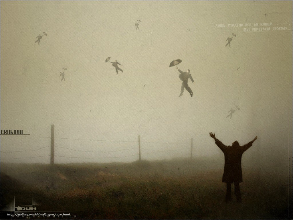 свобода, смысл, утрата, полет, бред, туман, зонтик