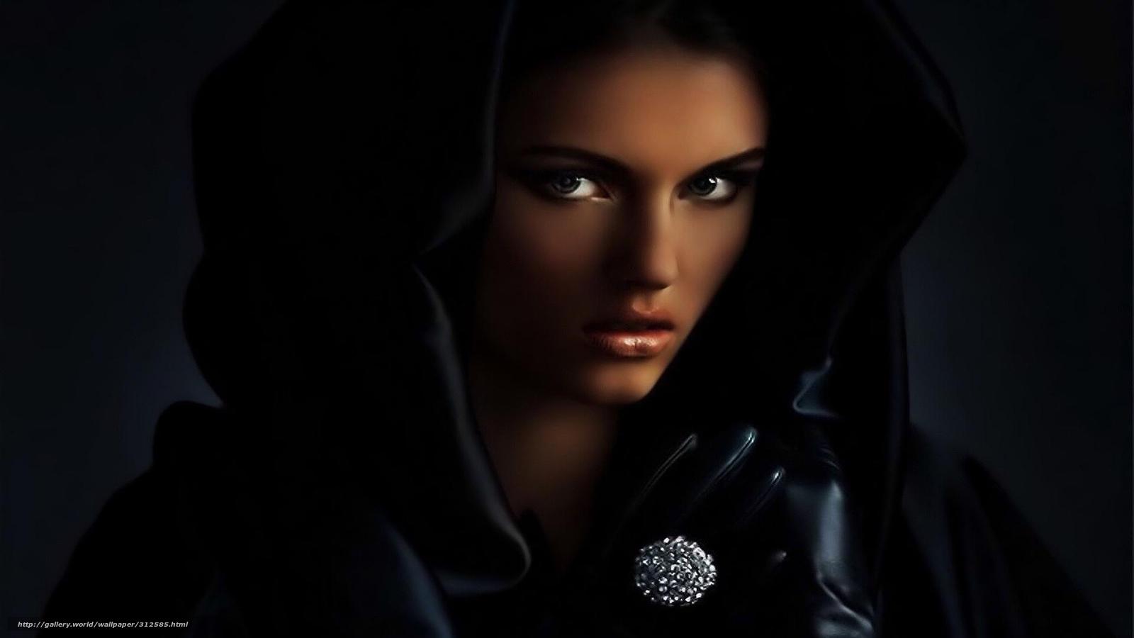 Девушка в черном капюшоне фото