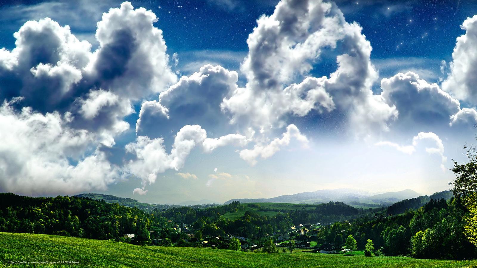 Небо зелень гори