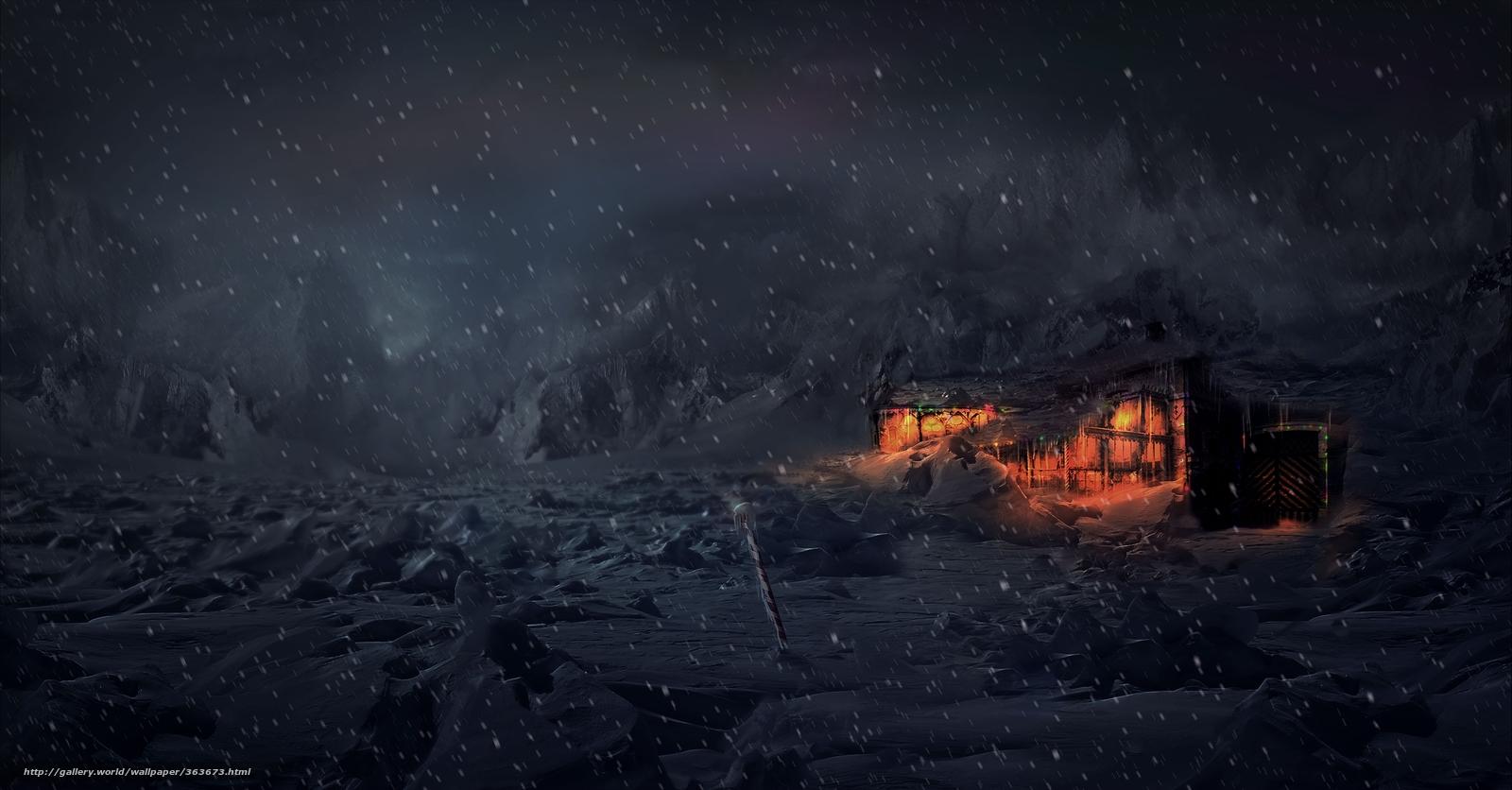 Зима снег тундра дом ночь