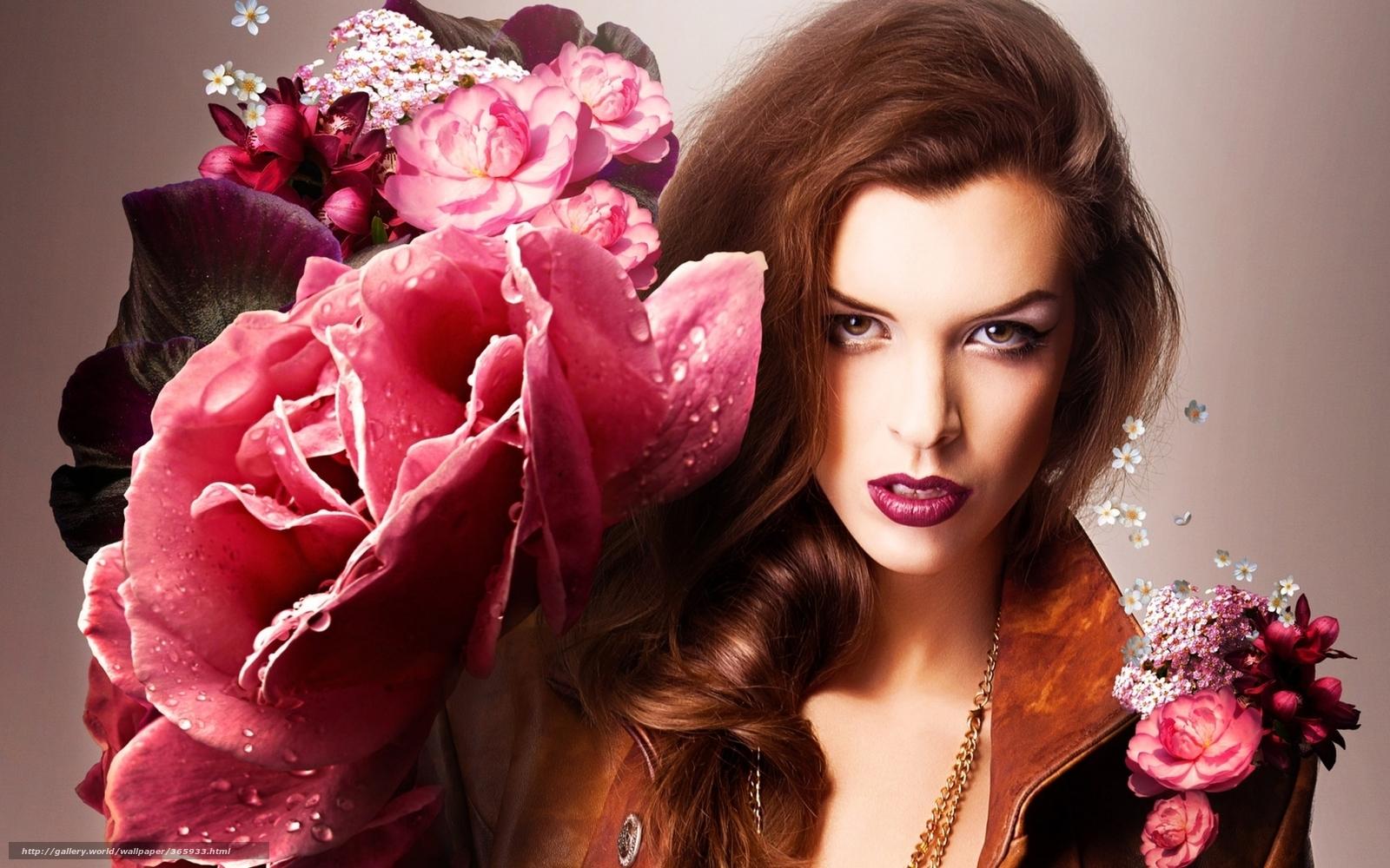 Открытки девушка с цветком 501