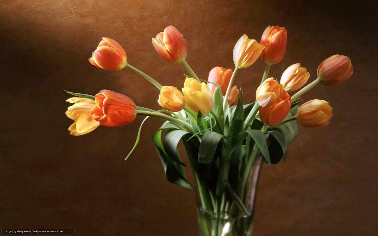 Обои для рабочего стола тюльпаны вазе