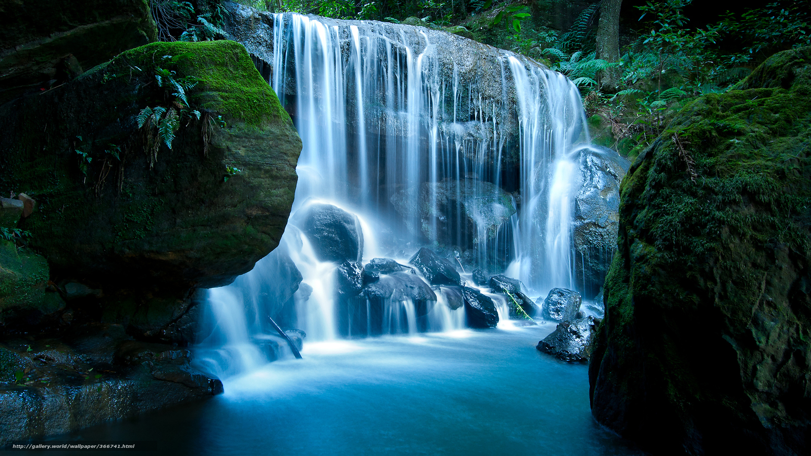 Природа камни водопад мох лес