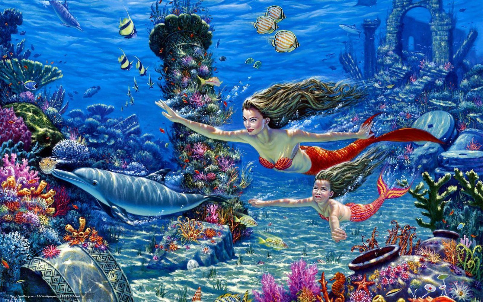 Подводный мир русалки дельфины рыбы