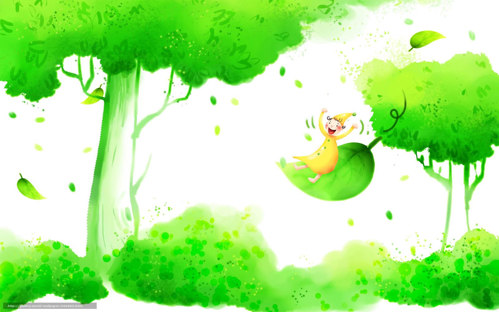 Тему детские обои дерево гном улыбка