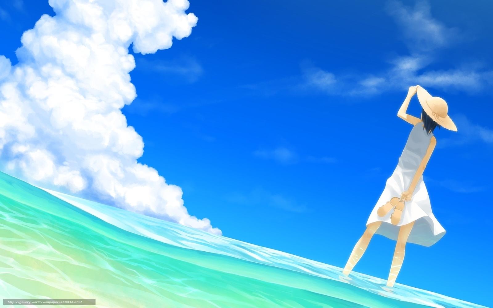 аниме девушки на море: