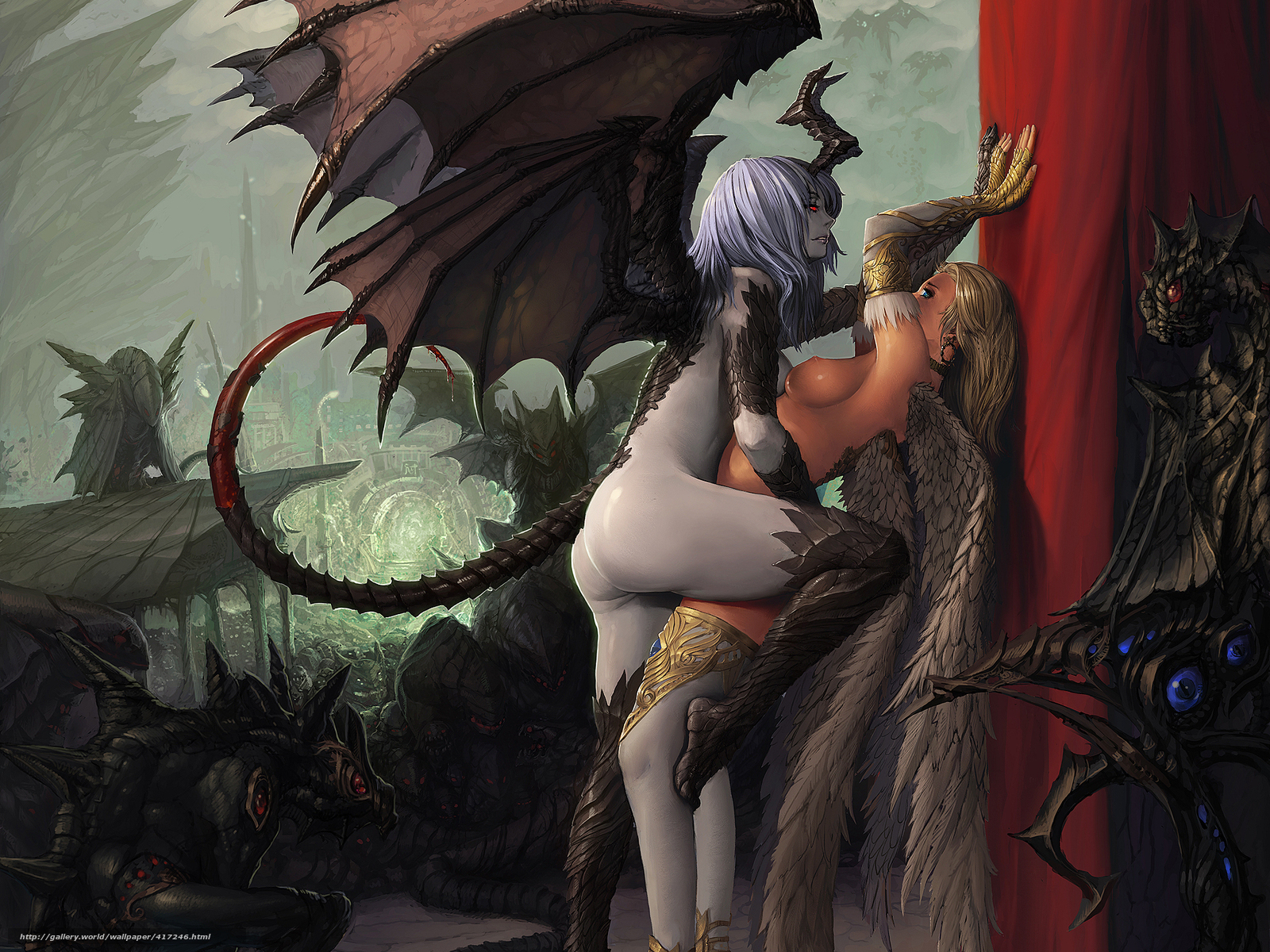 Angel and demon lesbian fantasy porn smut comic