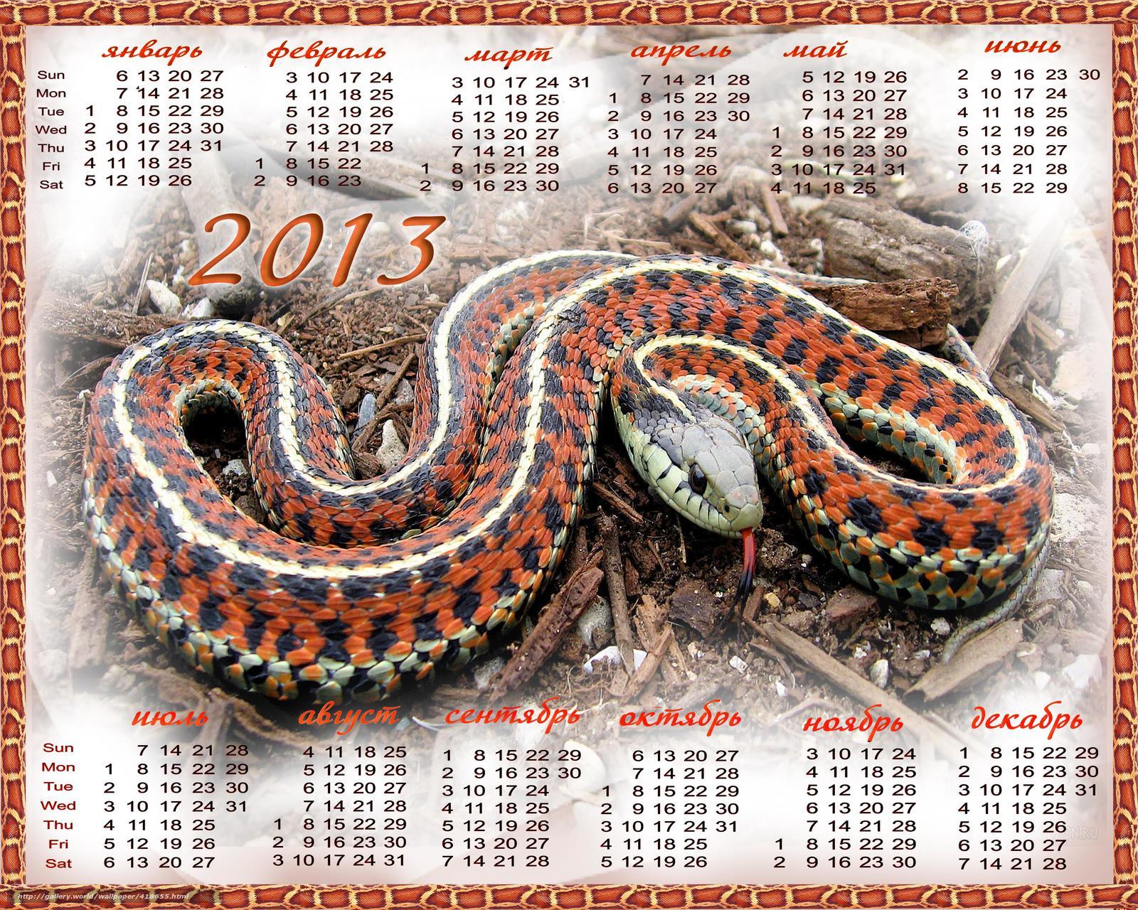 Новогодний календарь с годом Змеи 2013.