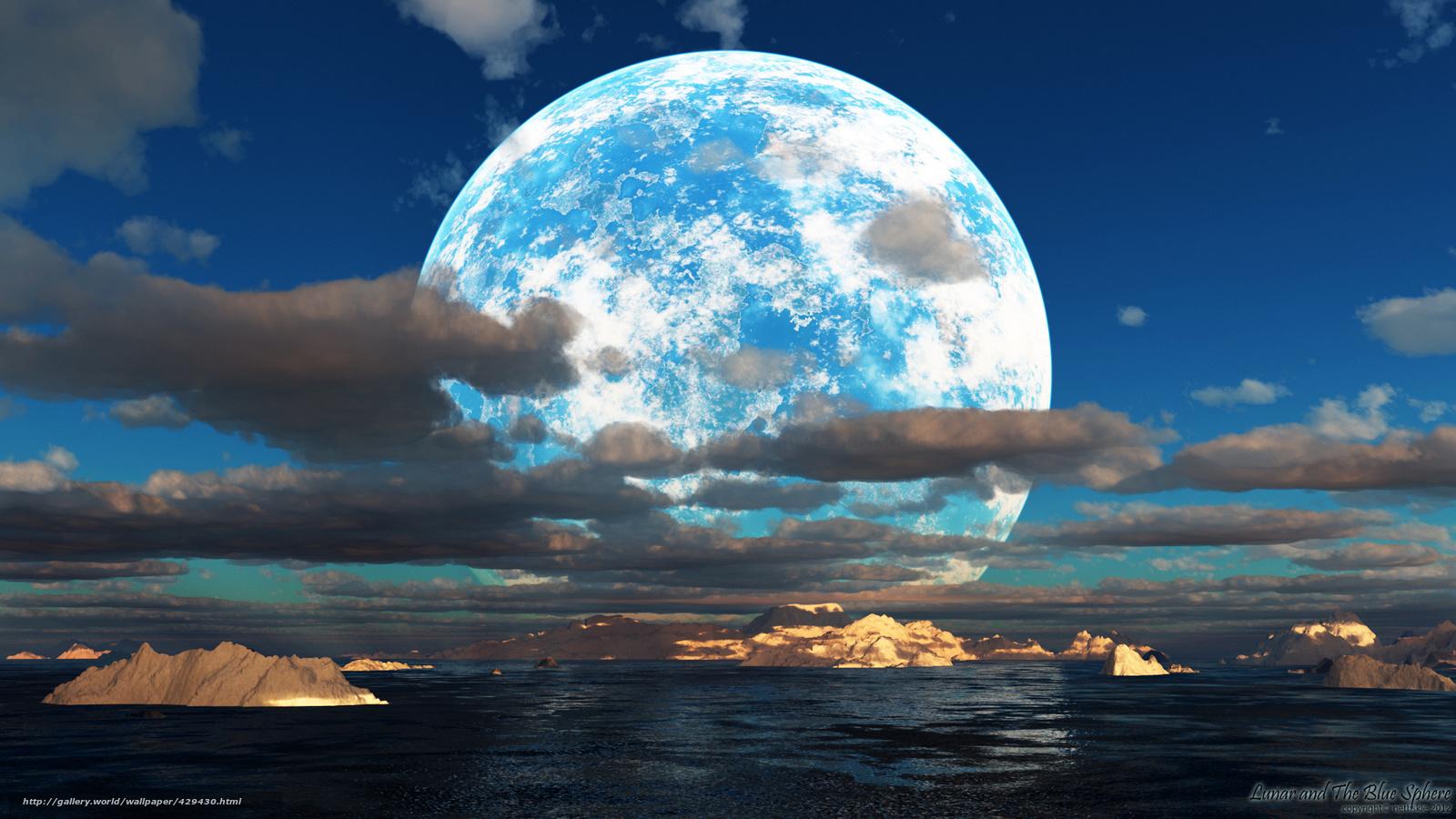 Обои небо облака море острова луна