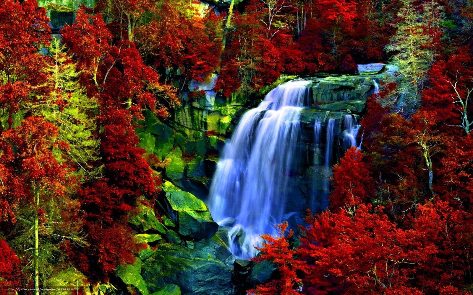 Водопад деревья камни скалы природа
