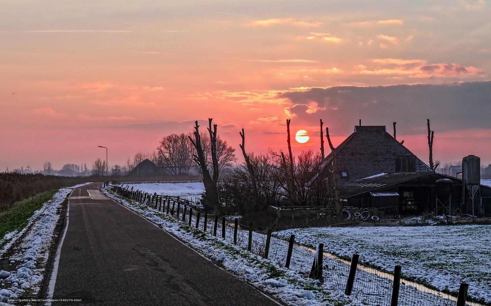 Обои на тему дорога снег закат дом