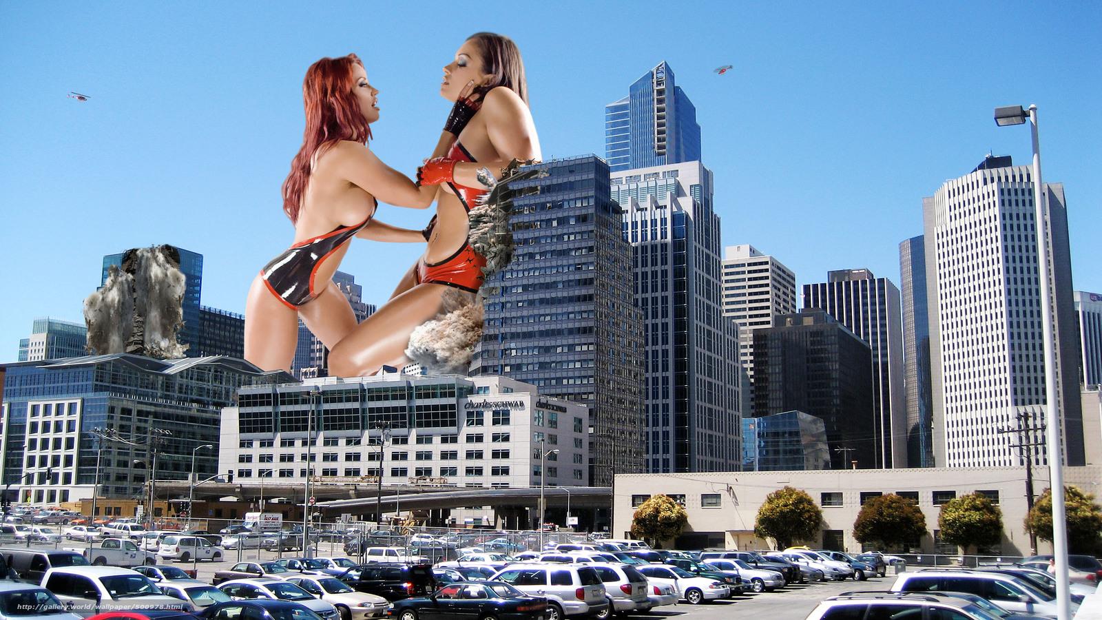 Giantess nude in the city nude scene
