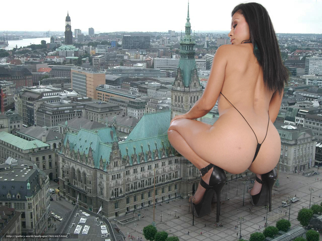 Giantess nude in the city softcore scene
