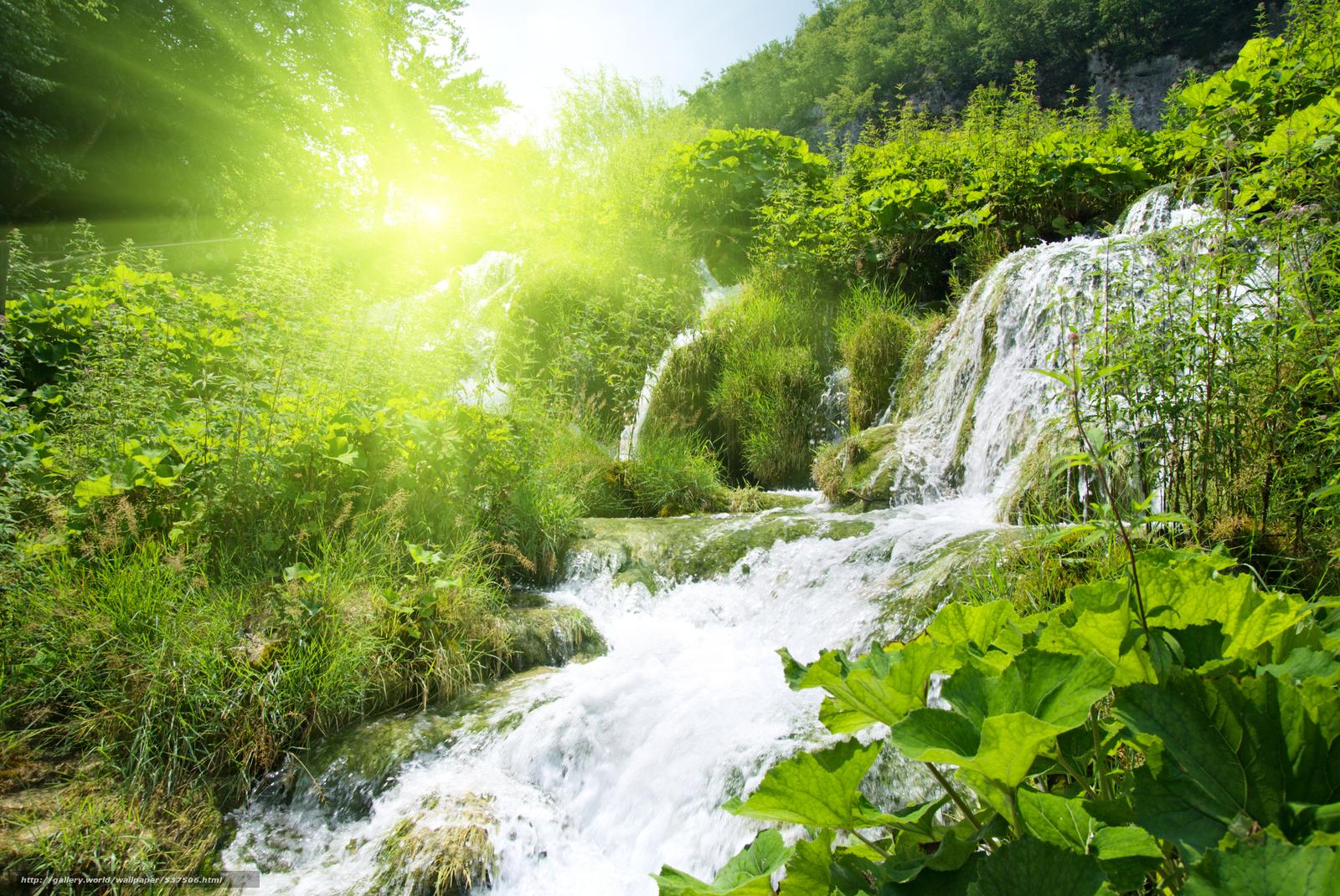 обои для рабочего стола солнечный водопад № 626736 бесплатно