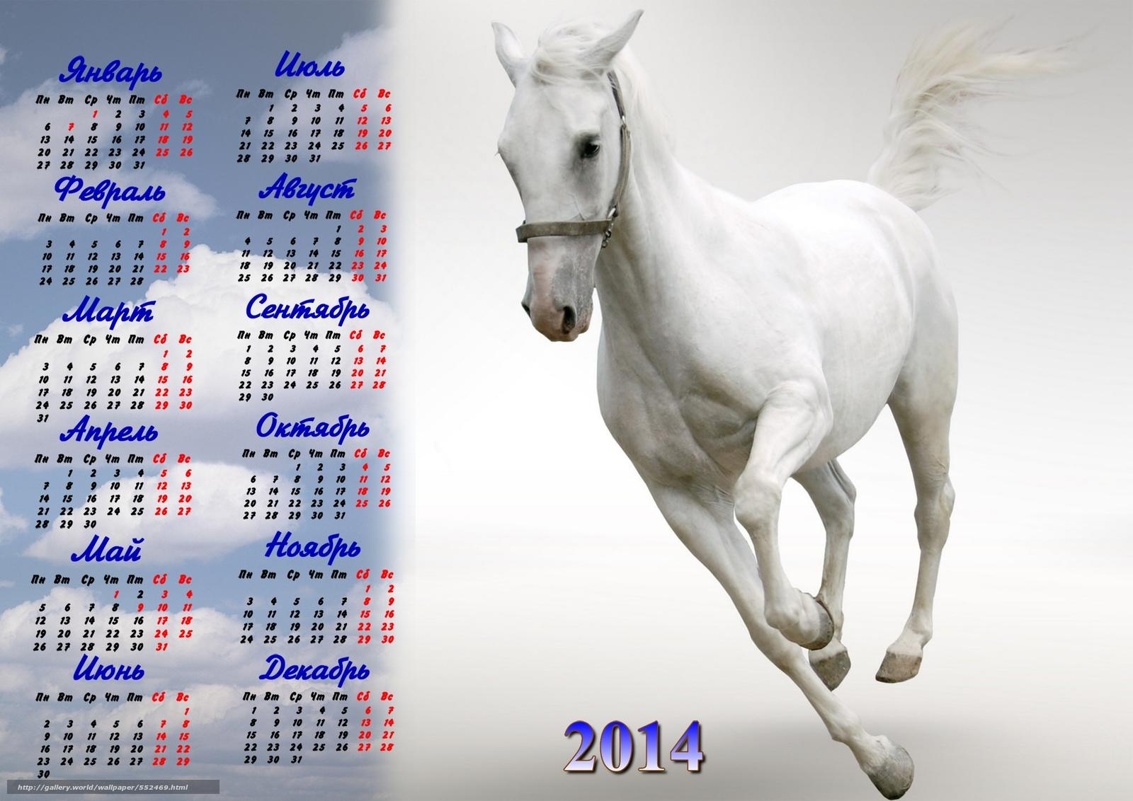 Календарь, 2014 год, год лошади, фото, обои, картинка #552469 ...