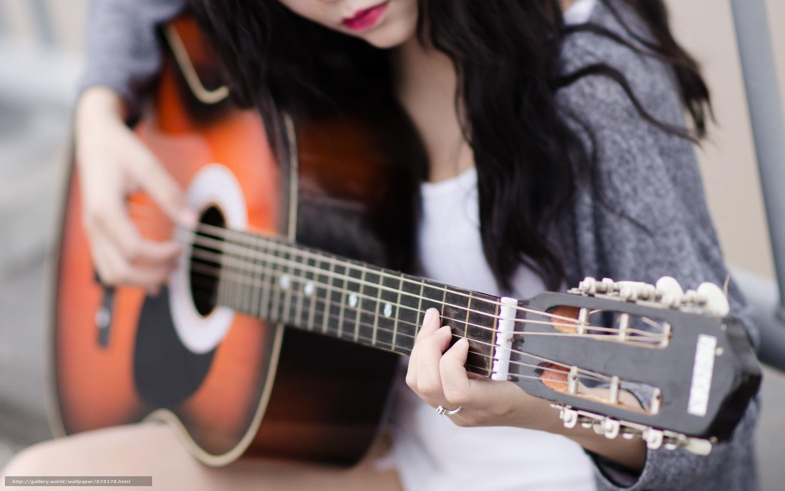 Картинка девушка с гитарой