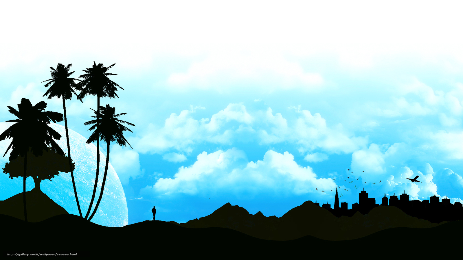 пальма, силуэт, пейзаж, небо, профиль, облака, человек, город