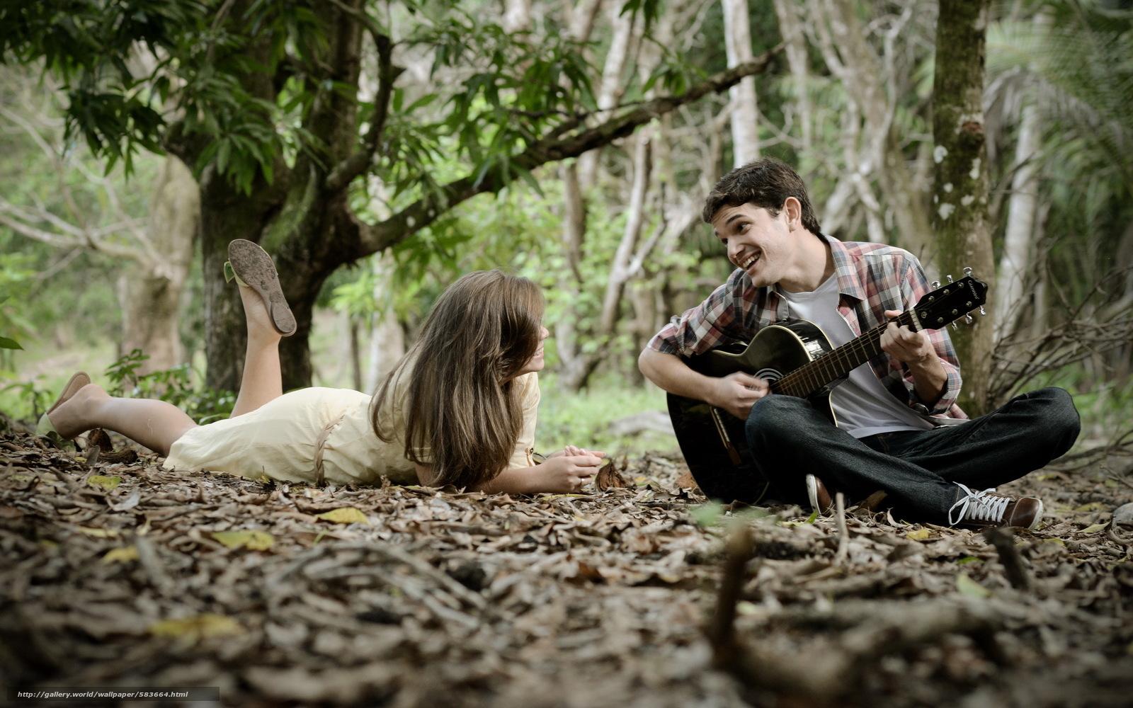парень, девушка, настроение, гитара