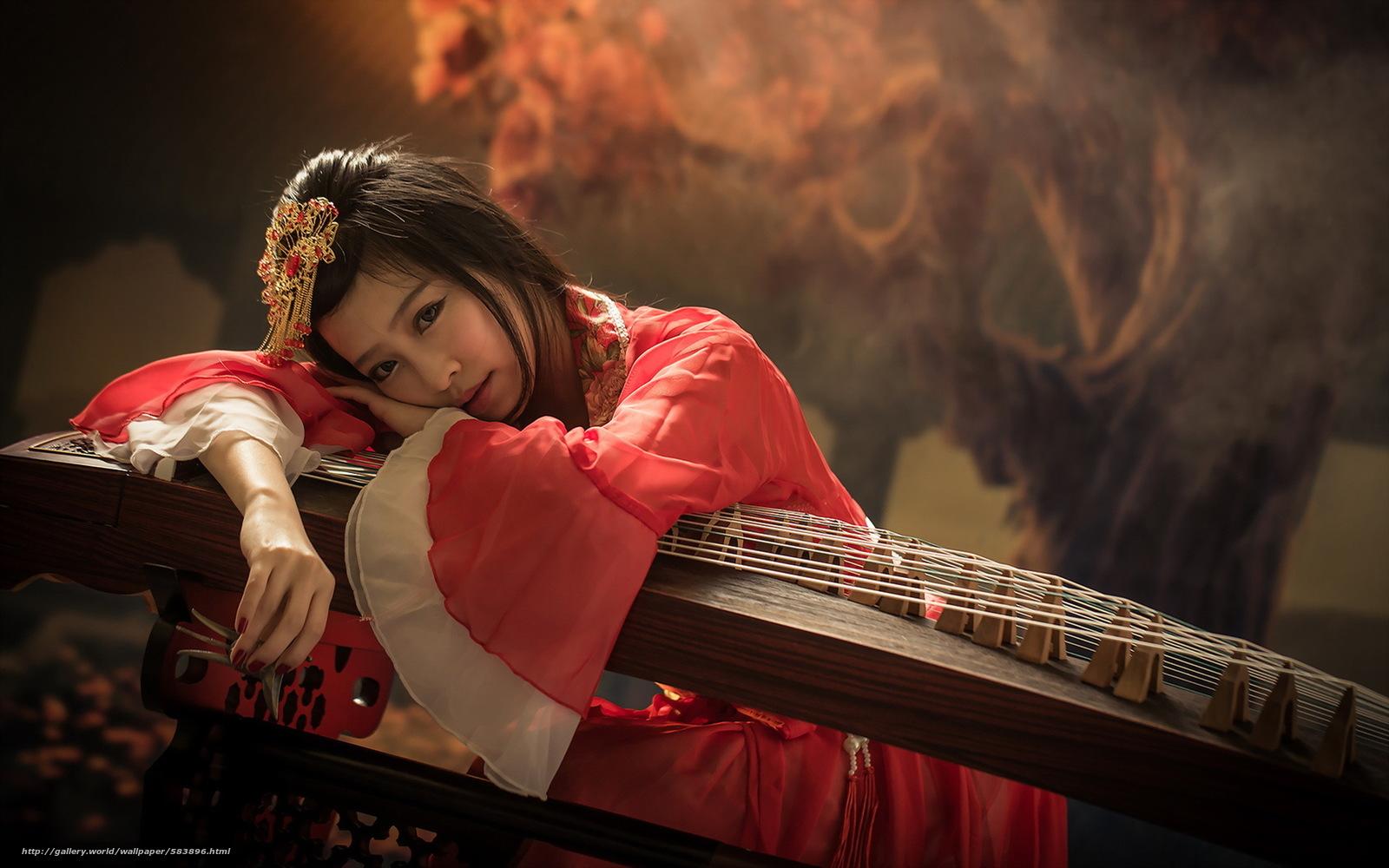 девушка, инструмент, взгляд, азиатка, музыка
