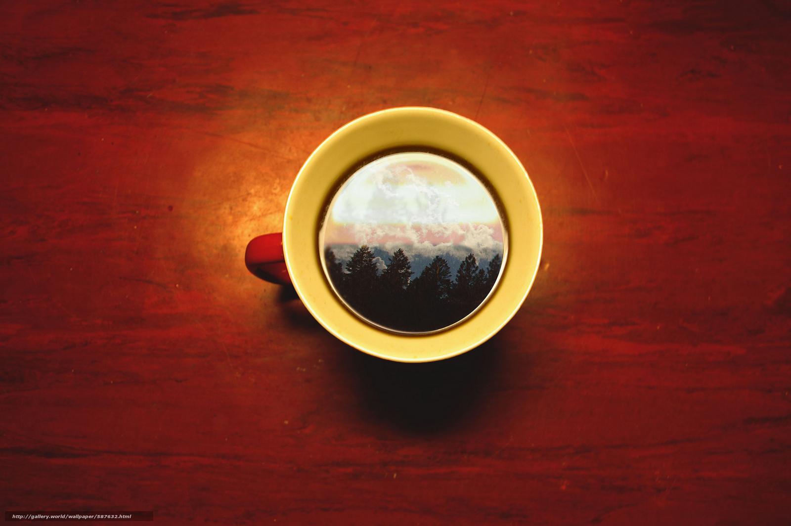 небо, кружка, деревья, чашка