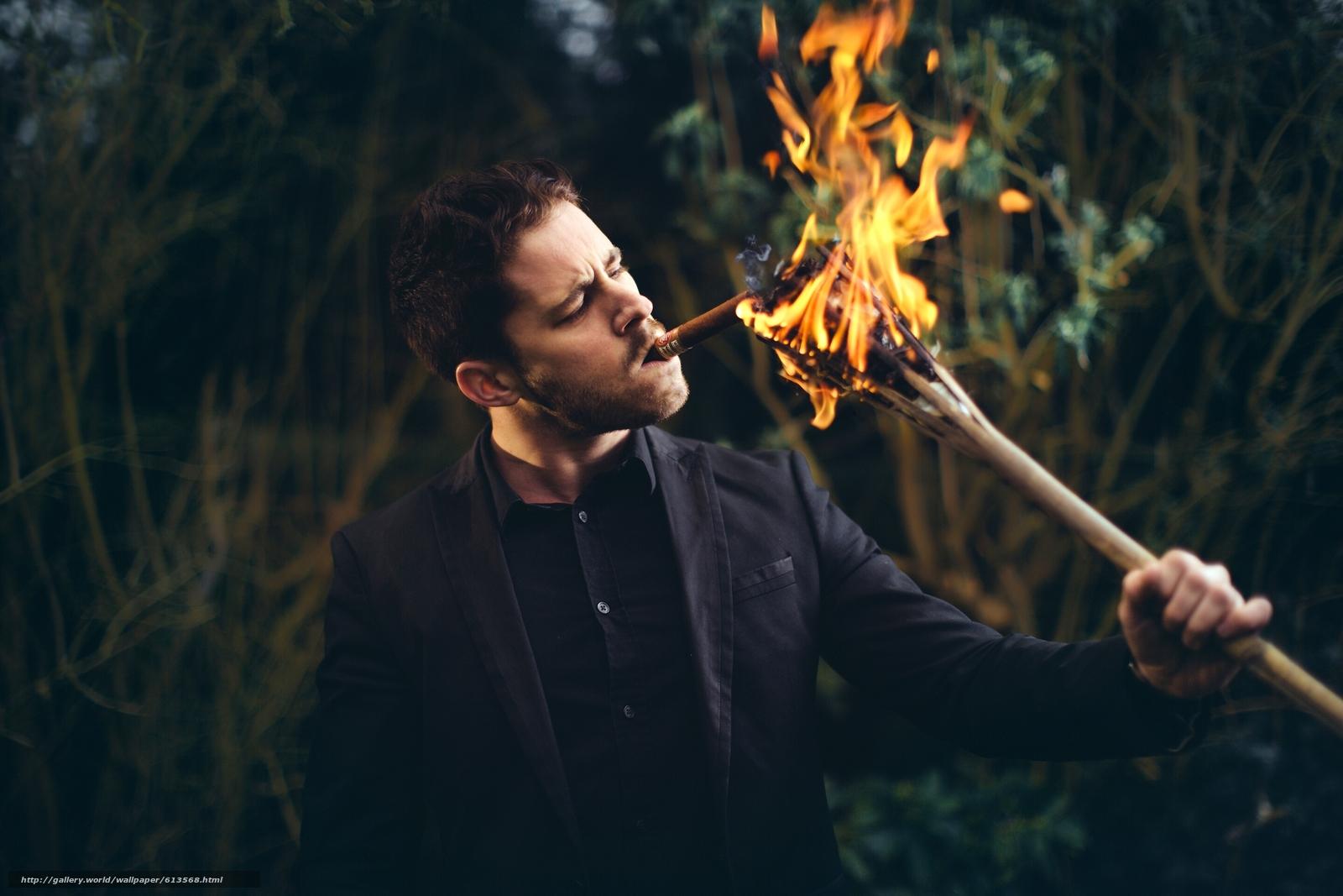 парень, сигара, щетина, факел, огонь