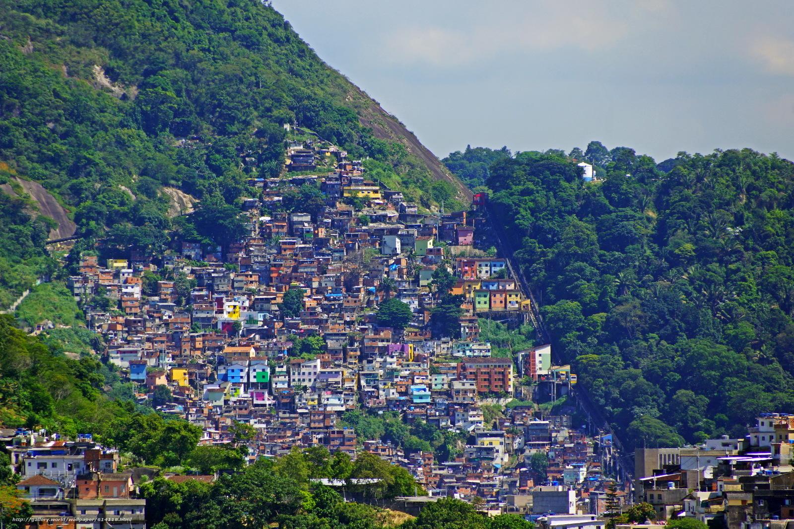 Бразилия, дома, горы, Рио-де-Жанейро, город, фото