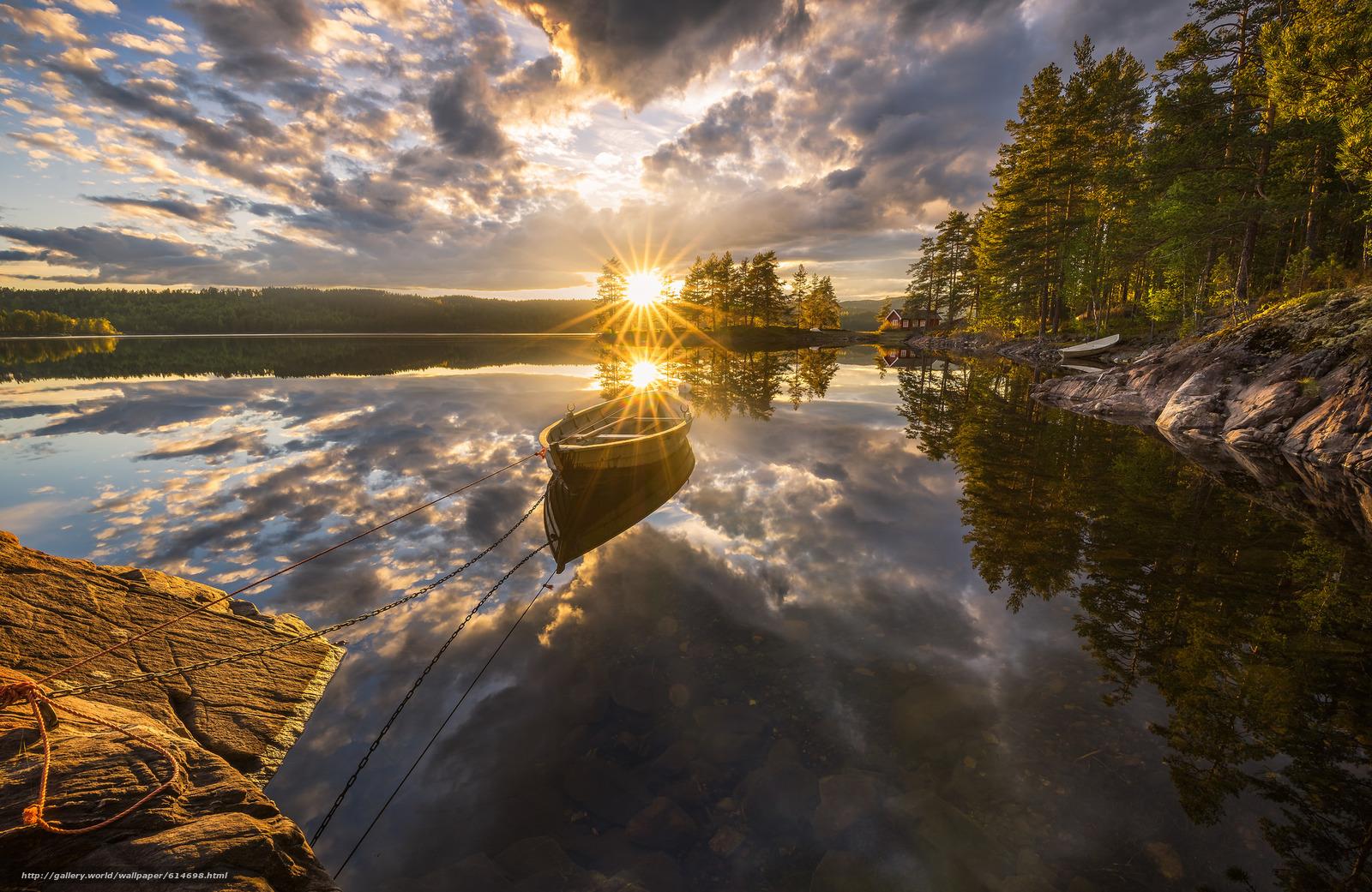 Ringerike, Norway, Рингерике, Норвегия, озеро, закат, отражение, лодка, деревья